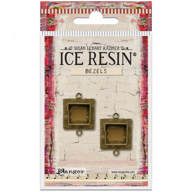 Antique Bronze Small Square Bezels Ice Resin