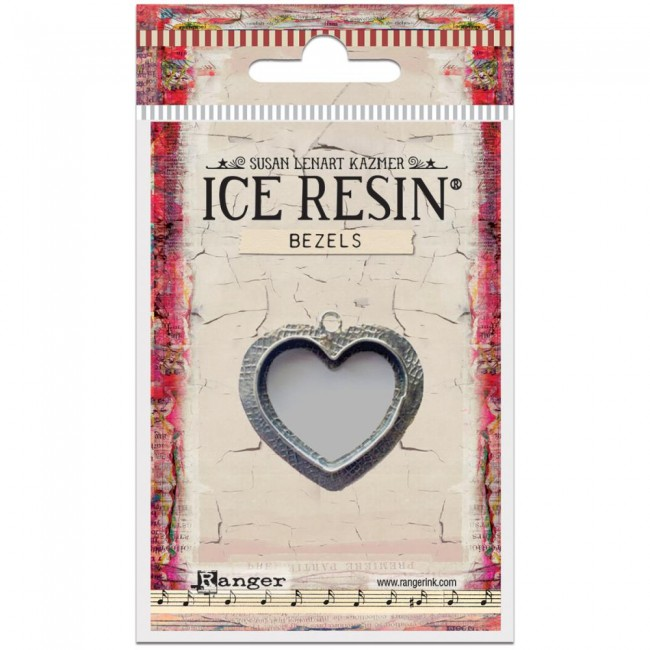 Antique Silver Medium Heart Bezels Ice Resin