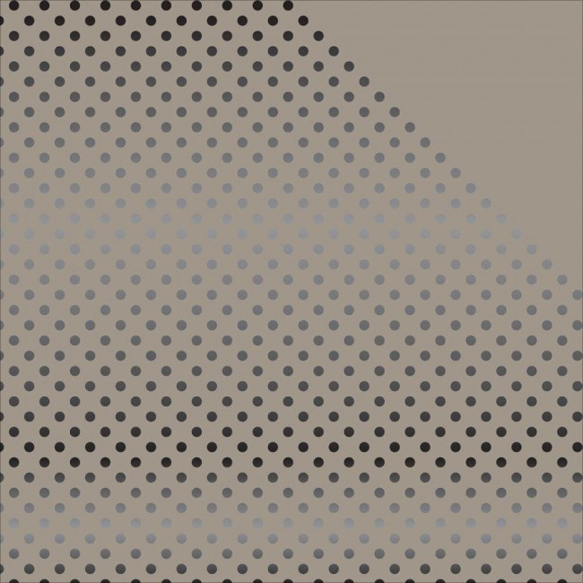 Papier Imprimé Recto-Verso 12x12 - Dots & Stripes - Gray W/Black