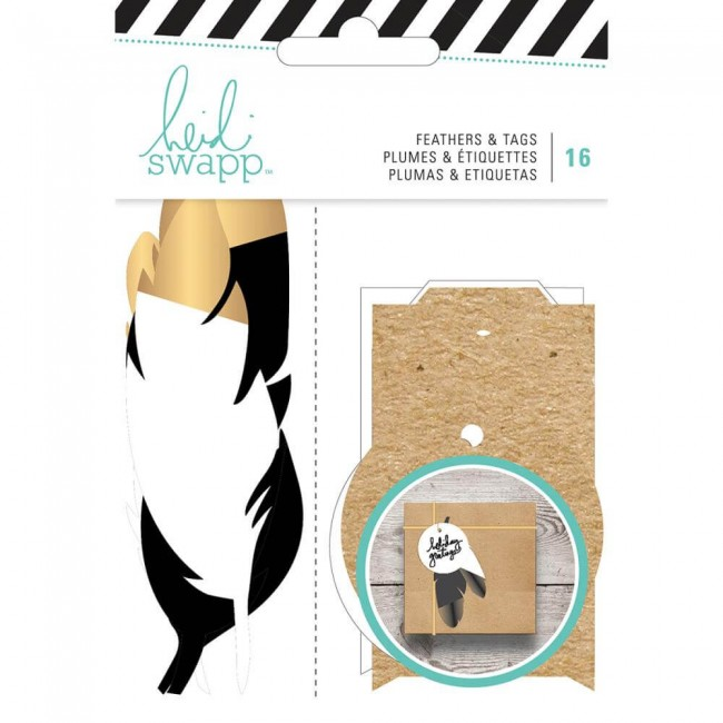 Tags et die cuts Gift Wrap Feathers