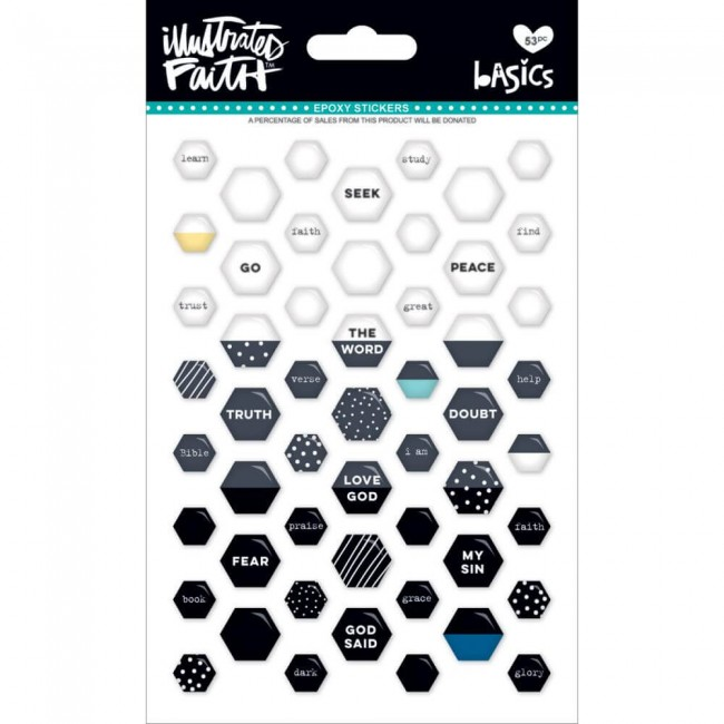 Autocollants Époxy Basics - Mini Hexies Black Eyed Pea