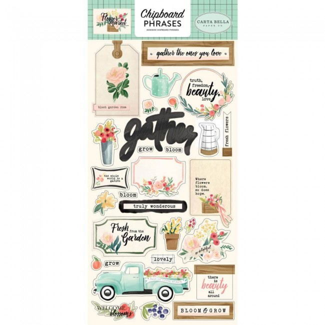 Chipboard Flower Market Phrases
