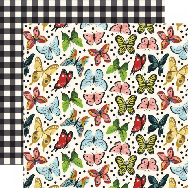Papier Imprimé Recto-verso 12x12 Animal Safari Butterfly Kisses