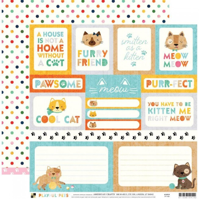 Papier Imprimé Recto-verso 12x12 Playful Pets Cat Tags