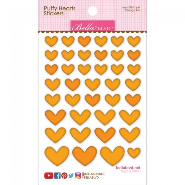 Autocollants Puffy Hearts - Orange Mix