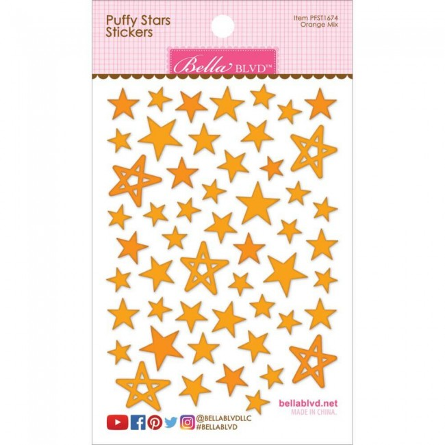 Autocollants Puffy Stars - Orange Mix