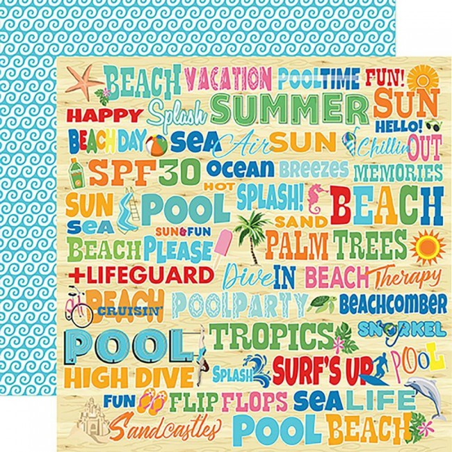 Papier Imprimé Recto-verso Summer Splash Splash Words
