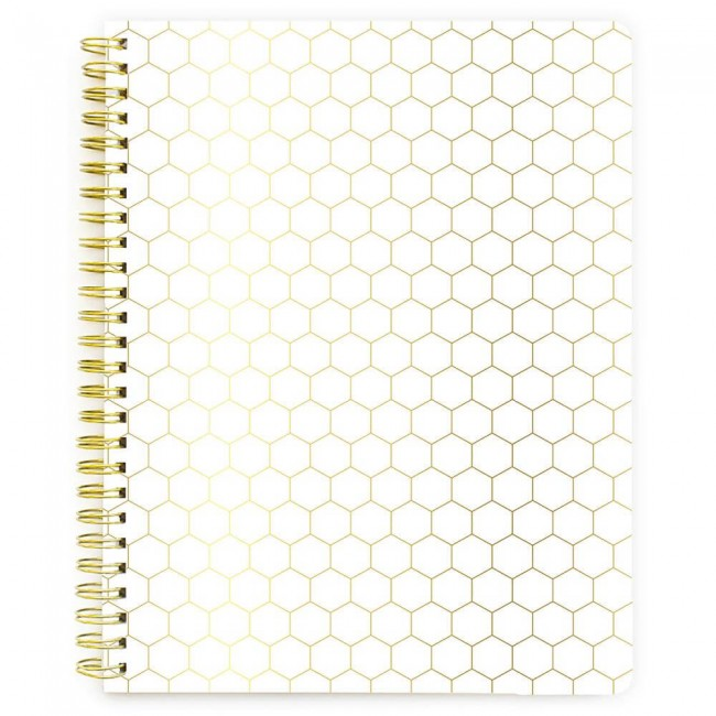 Cahier My Happy Place Gold Honeycomb Feuilles avec rayure