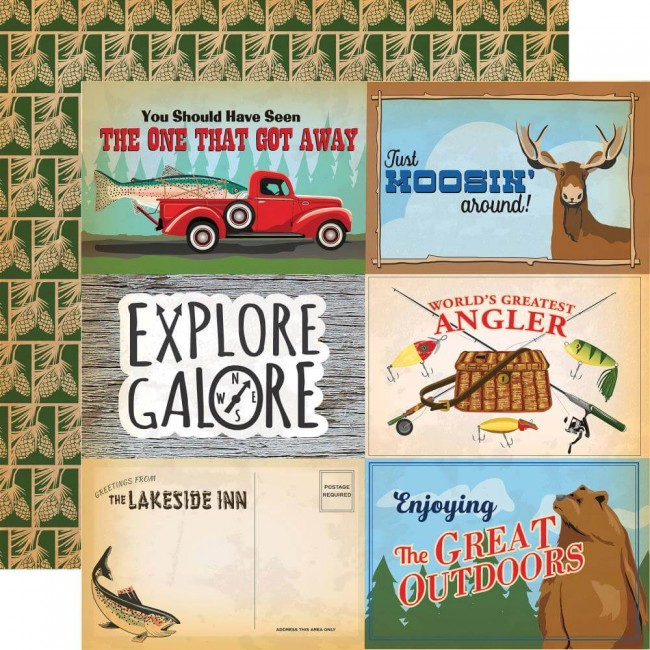 """Papier Imprimé Recto-verso Gone Camping 4""""X6"""" Journaling Cards"""