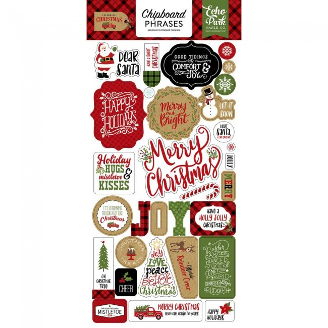 Chipboard Celebrate Christmas Phrases