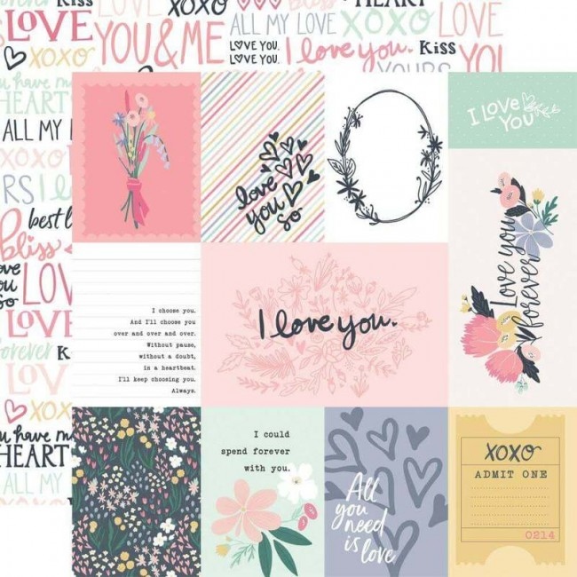 "Papier Imprimé Recto-verso 12x12 You & Me 3""X4"" Journaling Cards"