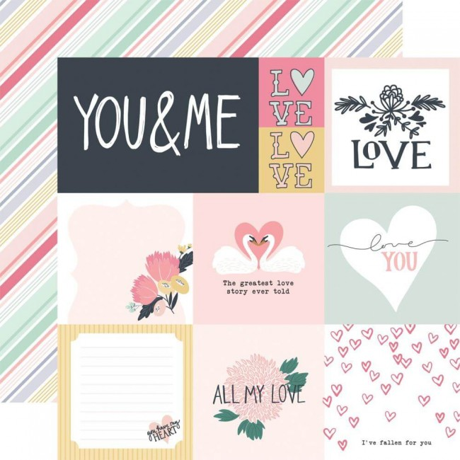 Papier Imprimé Recto-verso 12x12 You & Me Multi Journaling Cards