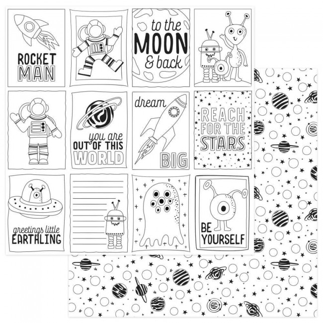Papier Imprimé Recto-verso 12x12 To The Moon And Back Black & White Color Me Cards