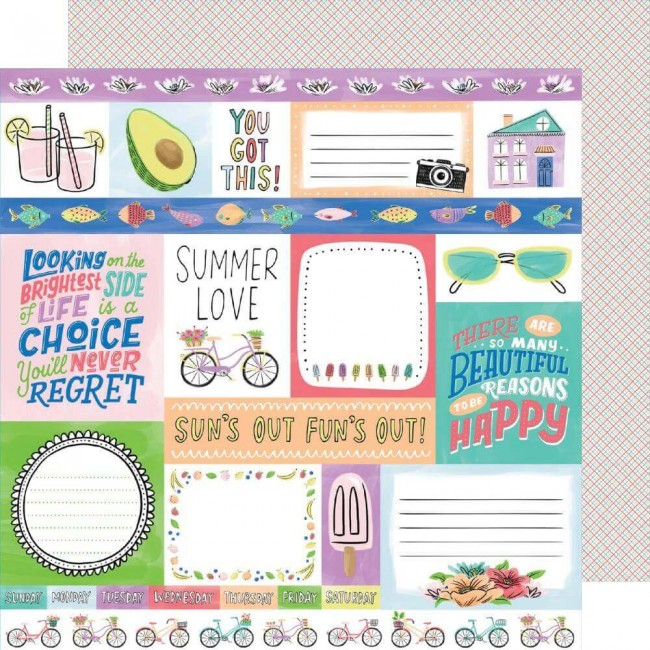 Papier Imprimé Recto-verso 12x12 Stay Sweet Summer Love