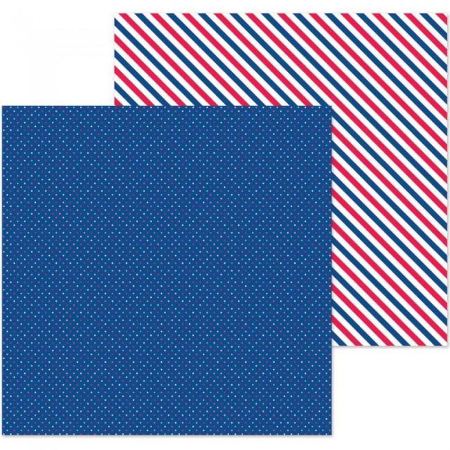 Papier Imprimé Recto-verso 12x12 French Kiss Navy Dot