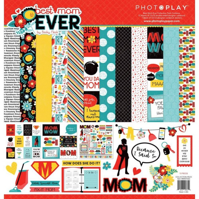 Kit Papiers Imprimés 12x12 Best Mom Ever