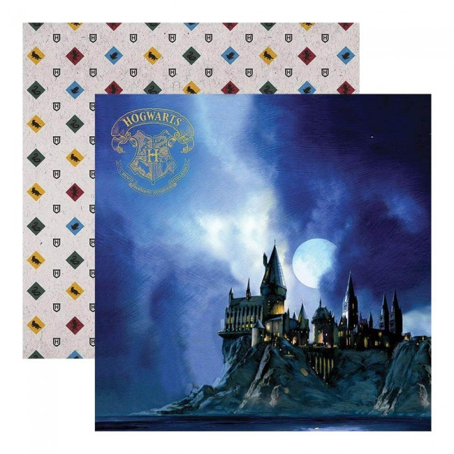 Papier Imprimé Recto-verso 12x12 Harry Potter Hogwarts At Night