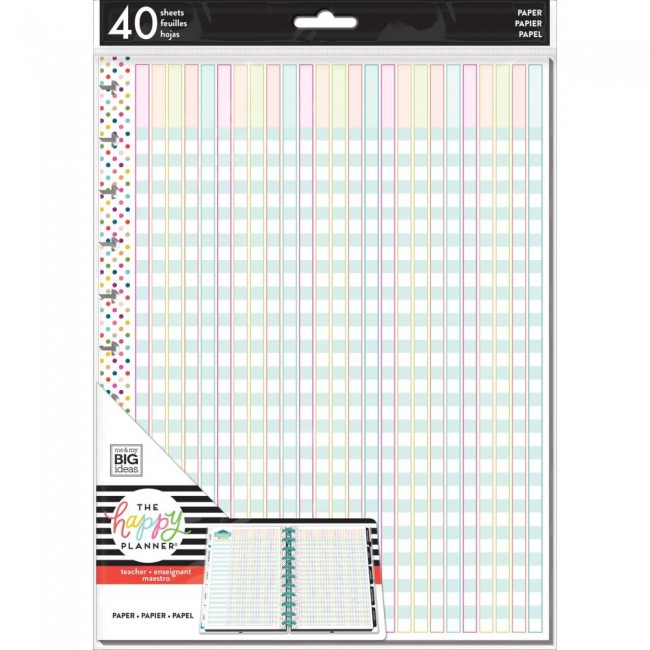 Insert pour Happy Planner Grand Create 365 Full Sheet Classroom Checklist Enseignant