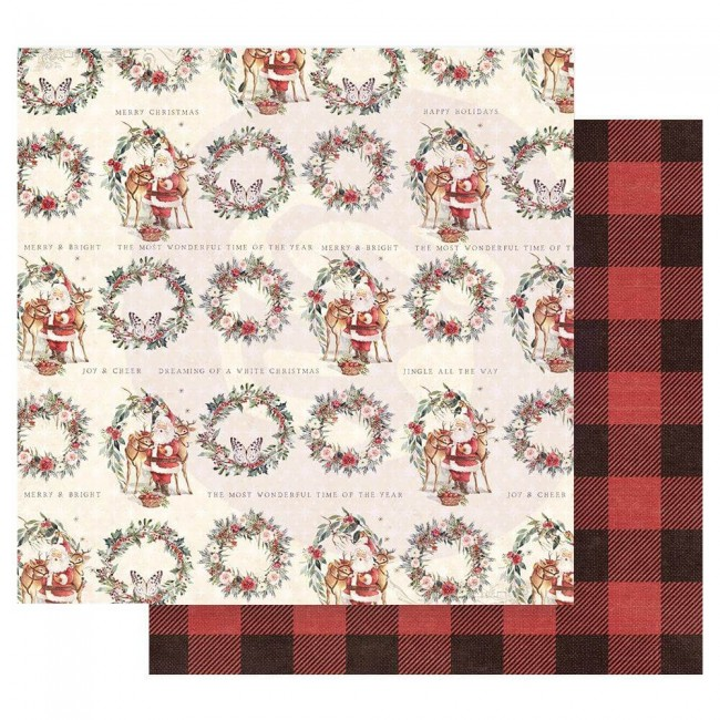 Papier Imprimé Recto-verso 12x12 Christmas In The Country Most Wonderful Time Of The Year