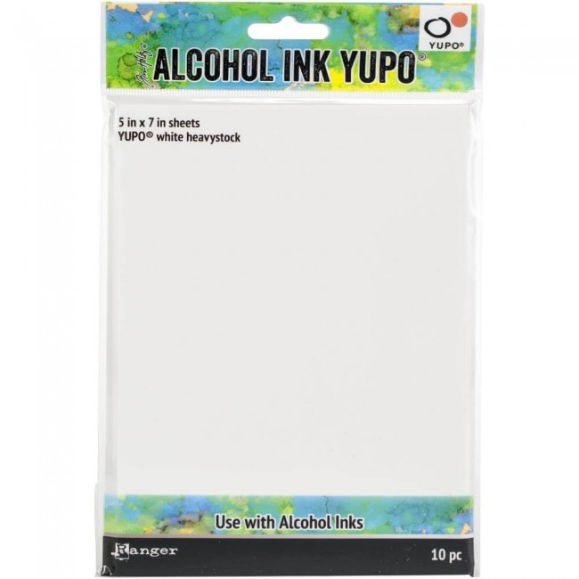 Papier Yupo Tim Holtz Alcohol Ink 144 lb 5x7 set de 10 Blanc