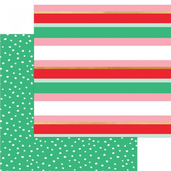 Papier Imprimé Recto-verso 12x12 Holly Jolly Merry Stripe