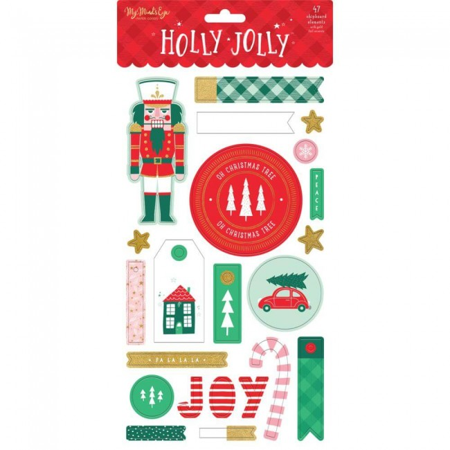 Chipboard 6x12 Holly Jolly