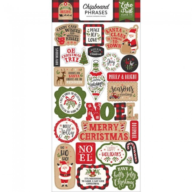 Chipboard 6x13 My Favorite Christmas Phrases