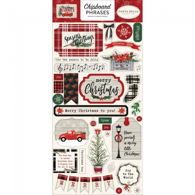 Chipboard 6x13 Christmas Market Phrases