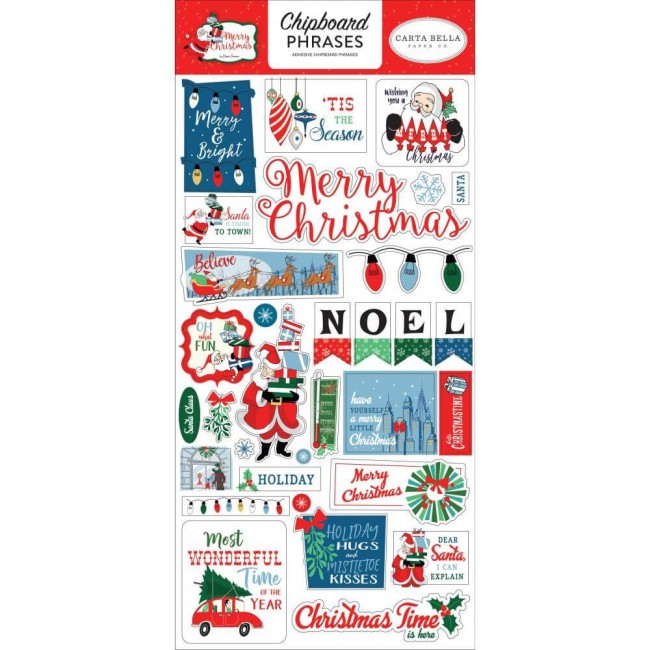 Chipboard 6x13 Merry Christmas Phrases