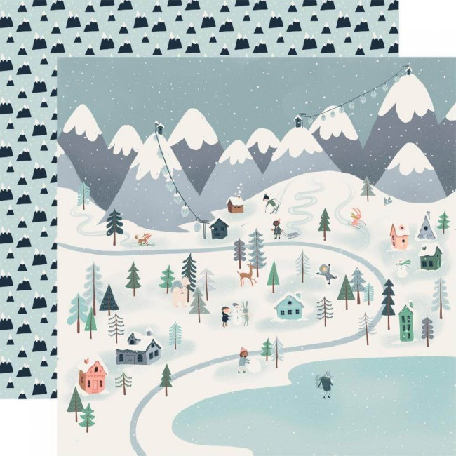 Papier Imprimé Recto-verso 12x12 Snow Much Fun Winter Town
