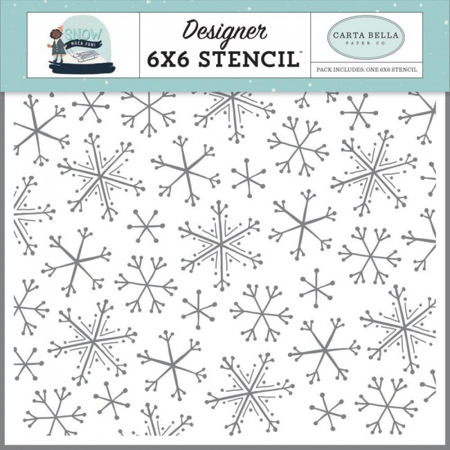 "Pochoir 6"" x 6"" Snow Much Fun Snowflake Fun"