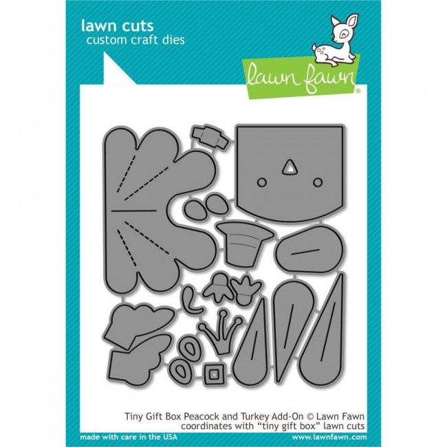 Matrice de Découpe Lawn Cuts Tiny Gift Box Peacock & Turkey Add-On