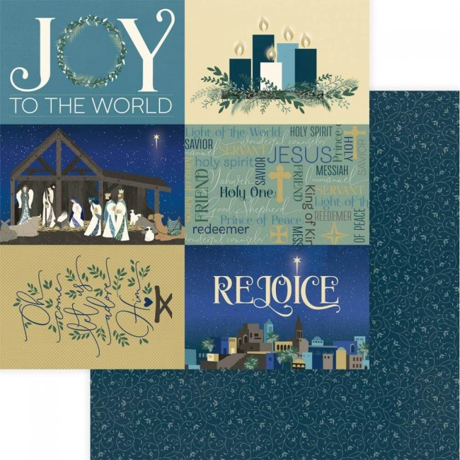 Papier Imprimé Recto-verso 12x12 One Night In Bethlehem Rejoice