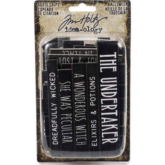Chipboard Idea-Ology Tim Holtz Halloween Words & Phrases Quote Chips