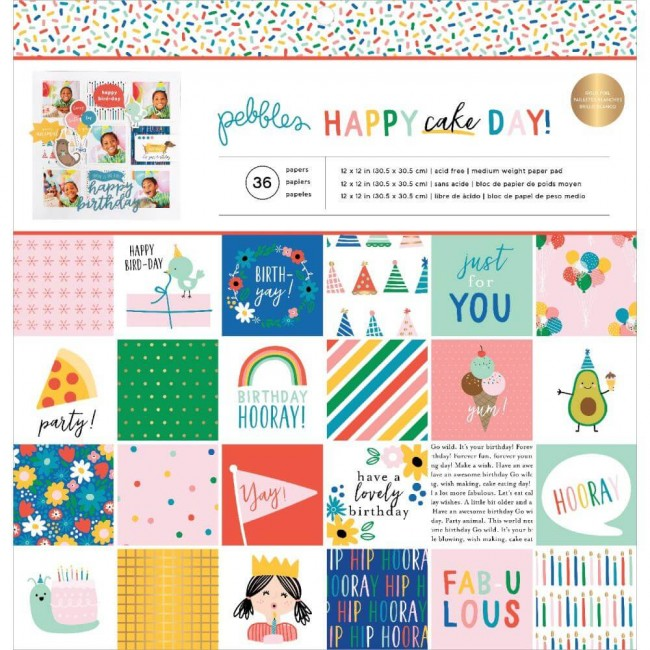 Stack Papiers Imprimés Recto 12x12 Happy Cake Day
