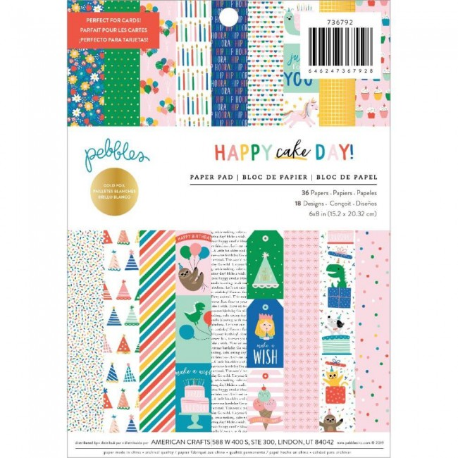 Stack Papiers Imprimés Recto 6x8 Happy Cake Day