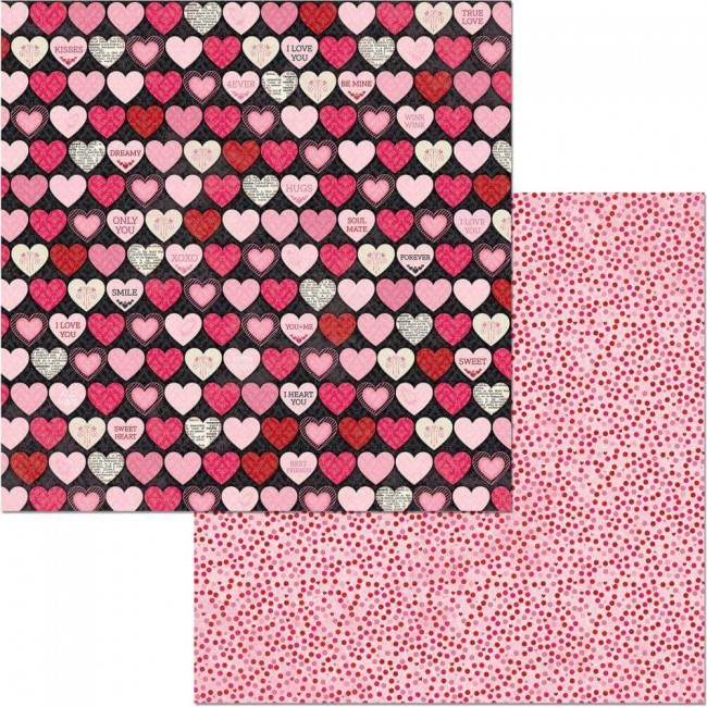 Papier Imprimé Recto-verso 12x12 Count The Ways Hearts