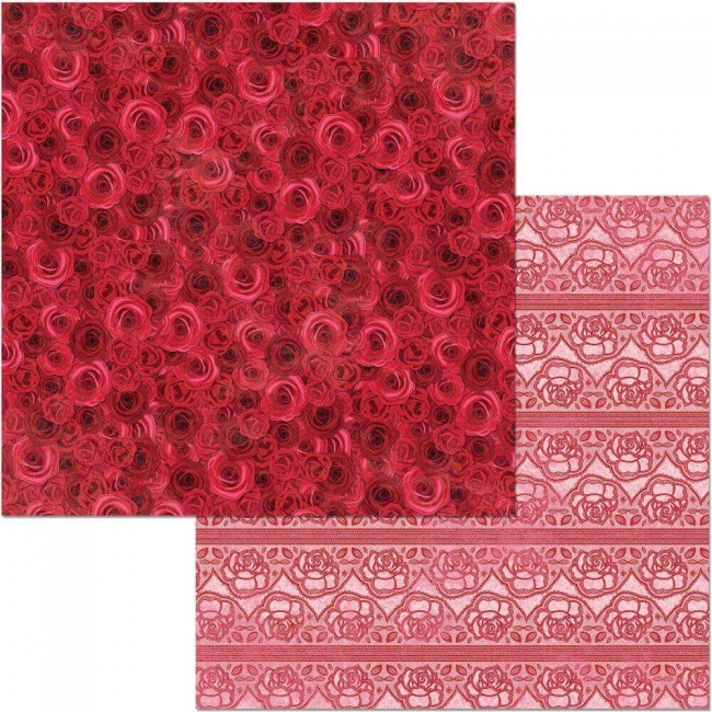 Papier Imprimé Recto-verso 12x12 Count The Ways Red Roses