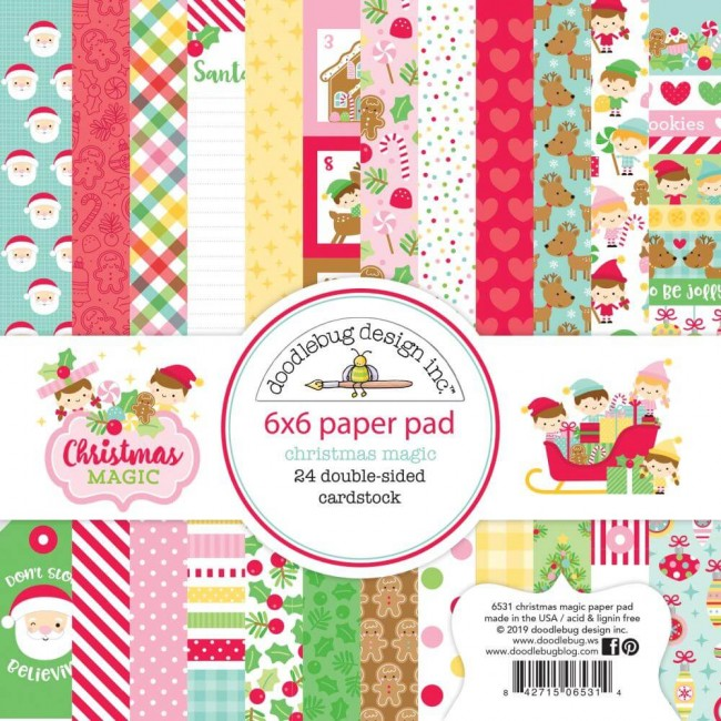 Stack Papiers Imprimés Recto 6x6 Christmas Magic