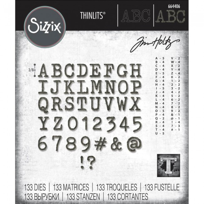 Matrice de Découpe Thinlits Alphanumeric Tiny Type Upper Tim Holtz