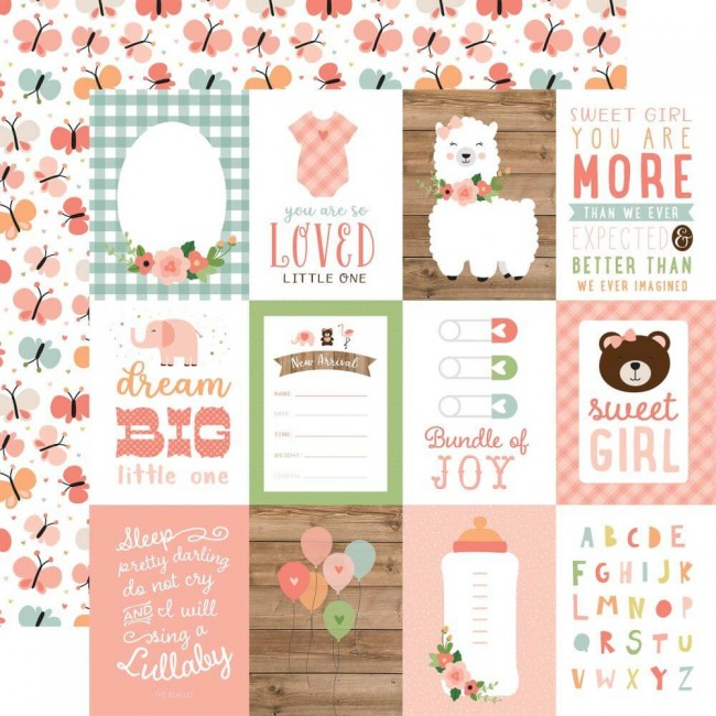 "Papier Imprimé Recto-verso 12x12 Baby Girl 3""X4"" Journaling Cards"