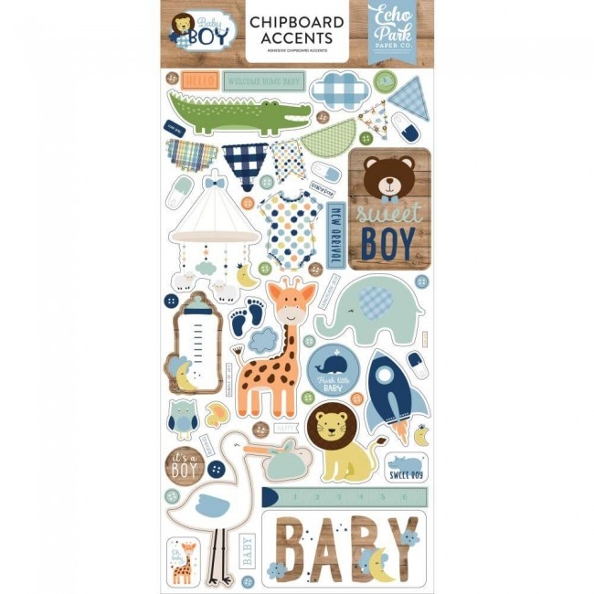 Chipboard 6x13 Baby Boy Accents