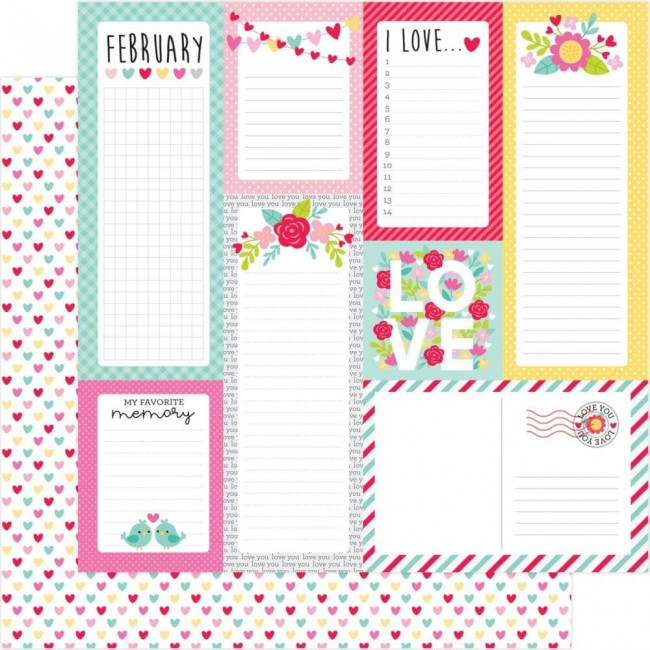 Papier Imprimé Recto-verso 12x12 Love Notes Conversation Hearts