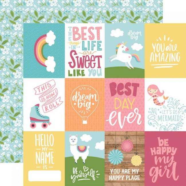 "Papier Imprimé Recto-verso 12x12 All Girl 3""X4"" Journaling Cards"