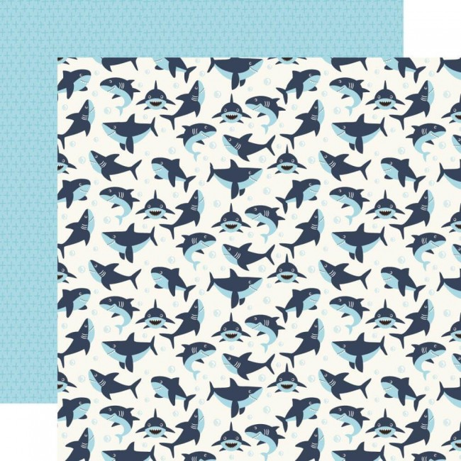 Papier Imprimé Recto-verso 12x12 All Boy Swimming Sharks