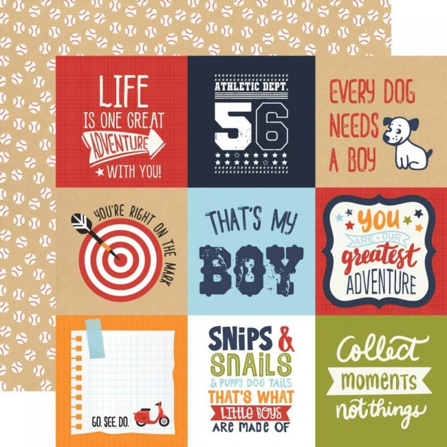 "Papier Imprimé Recto-verso 12x12 All Boy 4""X4"" Journaling Cards"
