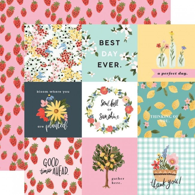 "Papier Imprimé Recto-verso 12x12 Oh Happy Day Spring 4""X4"" Journaling Cards"