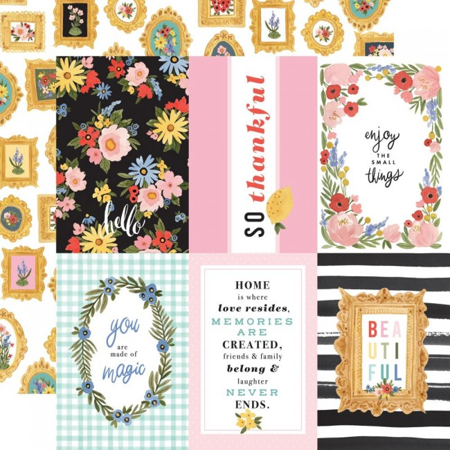 """Papier Imprimé Recto-verso 12x12 Oh Happy Day Spring 4""""X6"""" Journaling Cards"""