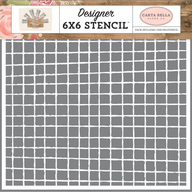 "Pochoir 6"" x 6"" Farmhouse Market Vintage Grid"
