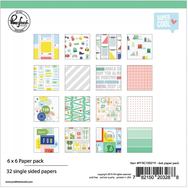 Stack Papiers Imprimés Recto 6x6 Super Cool